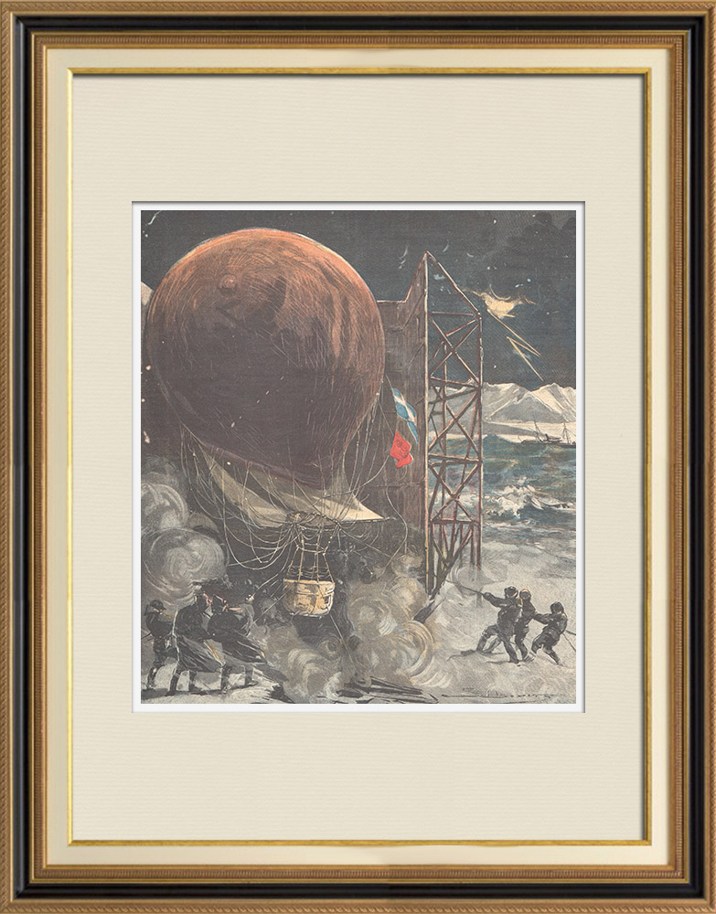 Antique Prints & Drawings   Balloon Aquila during a storm in the Islands of Denmark - Death of engineer Andrée - 1897   Wood engraving   1897