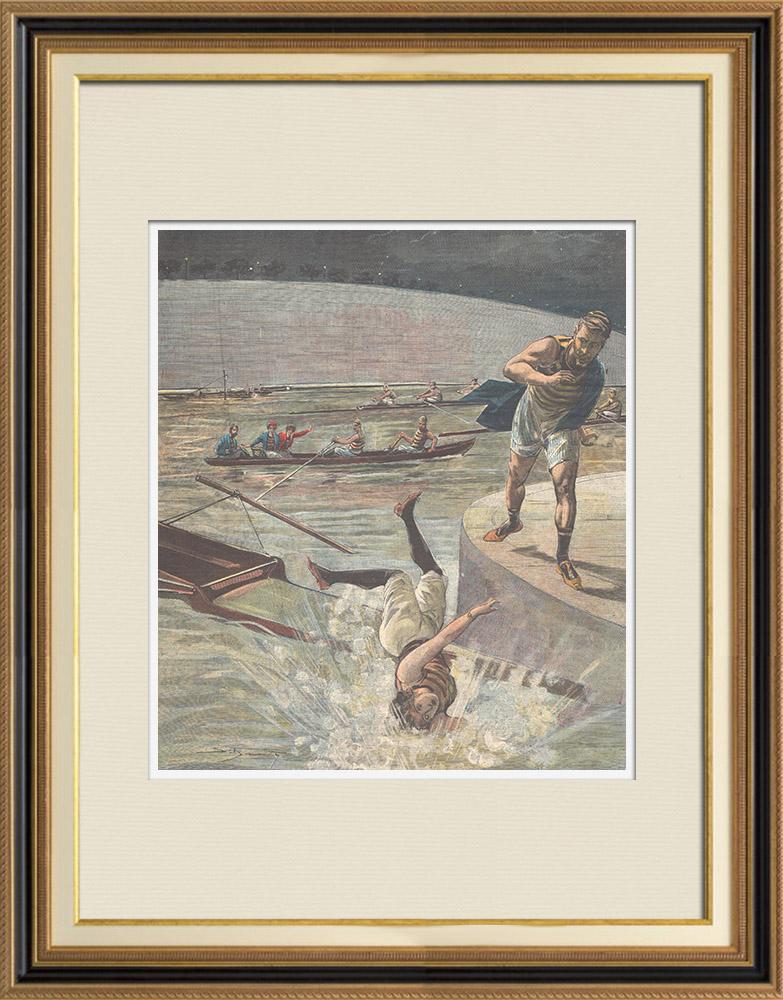 Gravures Anciennes & Dessins | Jeune fille noyée lors d'une excursion en canoë sur le Tibre - Italie - 1897 | Gravure sur bois | 1897