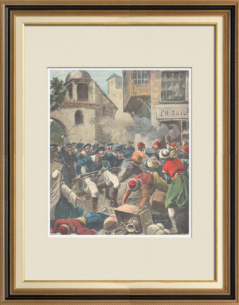 Antique Prints & Drawings | New riots in Candia - Christians from Rethymno against Muslims - Crete - Italy - 1897 | Wood engraving | 1897