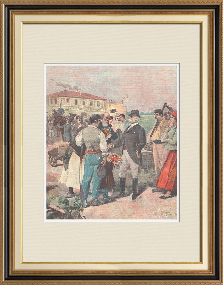 Antique Prints & Drawings | Visit of the King in the agricultural colony of Ostia - Italy - 1897 | Wood engraving | 1897