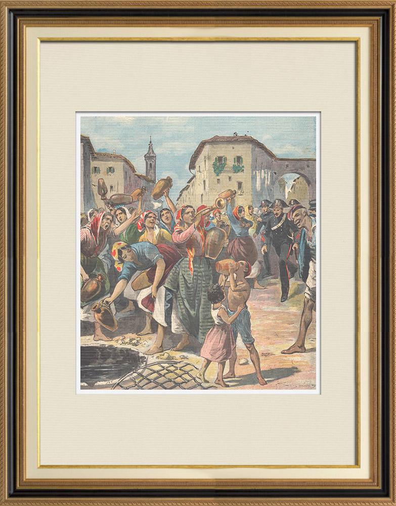 Antique Prints & Drawings | Revolt of Camaro women - Messina - Sicily - Italy - 1897 | Wood engraving | 1897