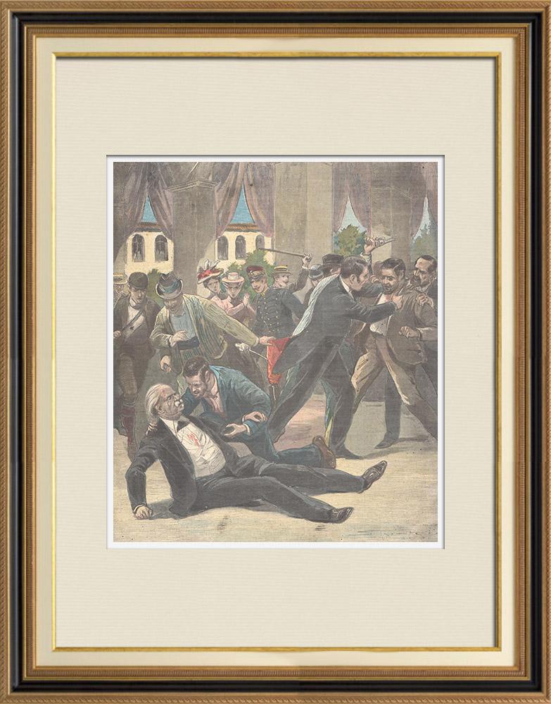 Antique Prints & Drawings   Assassination of Antonio Cánovas del Castillo - Mondragón - Spain - 1897   Wood engraving   1897