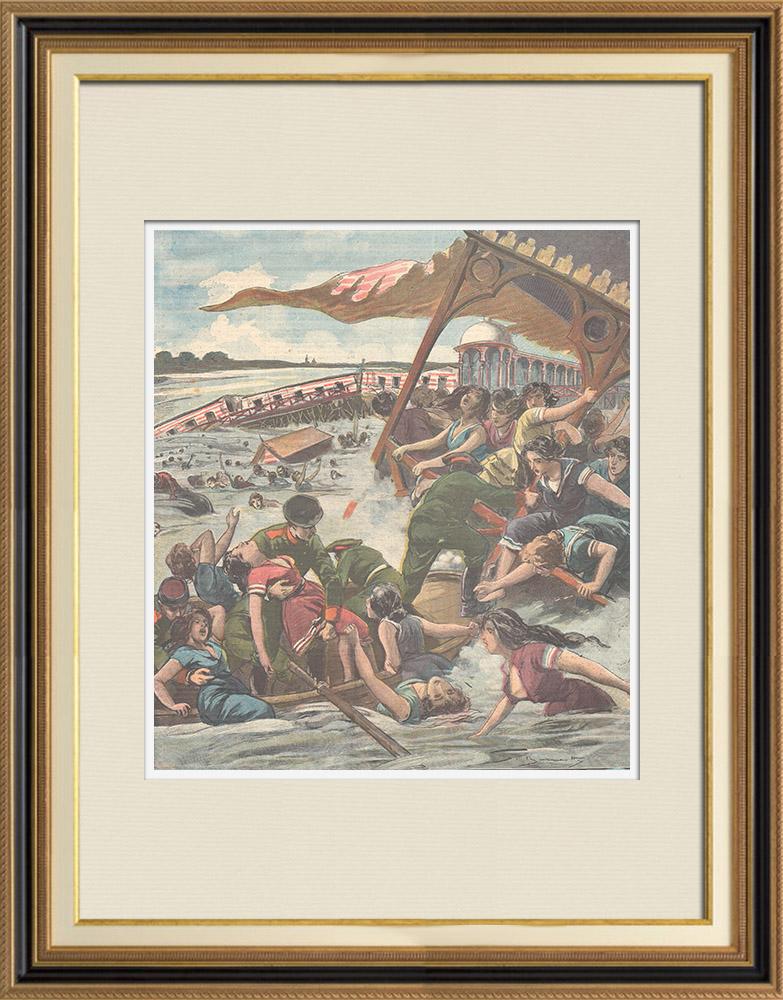Gravures Anciennes & Dessins | Crue du Dniepr - Sauvetage des femmes qui se baignent - Pologne - 1897 | Gravure sur bois | 1897