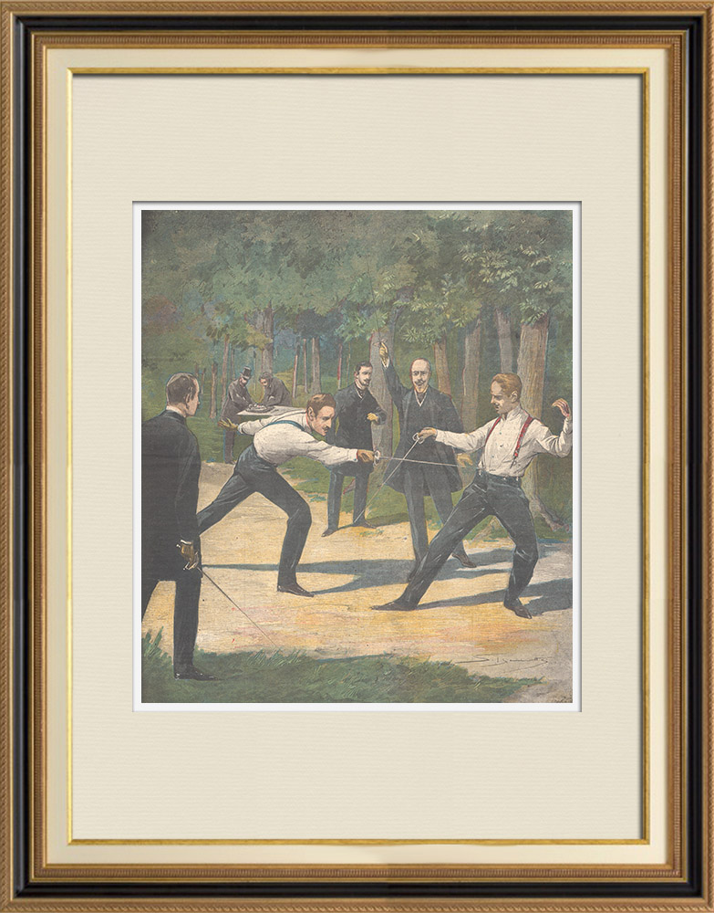 Antique Prints & Drawings | Duel between the Count of Turin and prince Henry of Orleans - France - 1897 | Wood engraving | 1897