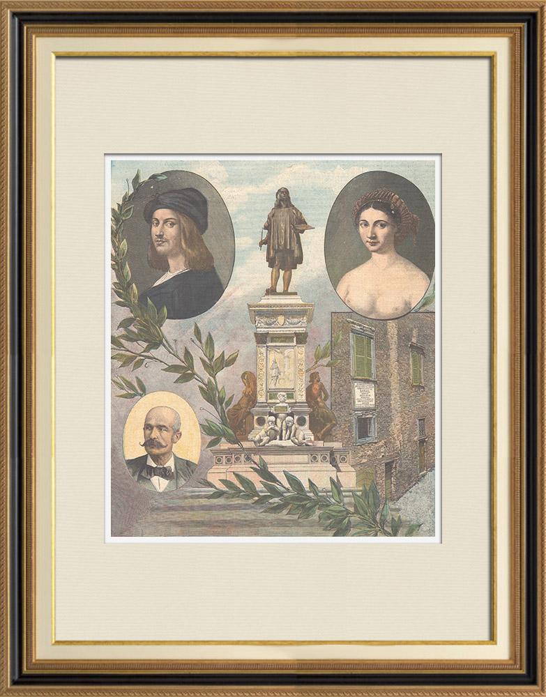 Antique Prints & Drawings | Italian Renaissance - Tribute to the Italian painter Raphaël | Wood engraving | 1897
