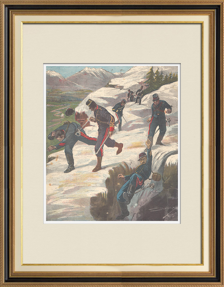 Antique Prints & Drawings | Incident at the Italian-French border - Rocciamelone - Italy - 1897 | Wood engraving | 1897