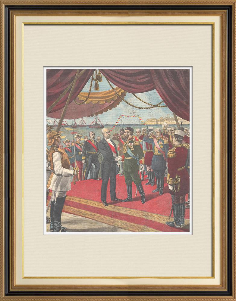 Gravures Anciennes & Dessins | Arrivée du Président de la République française en Russie - 1897 | Gravure sur bois | 1897