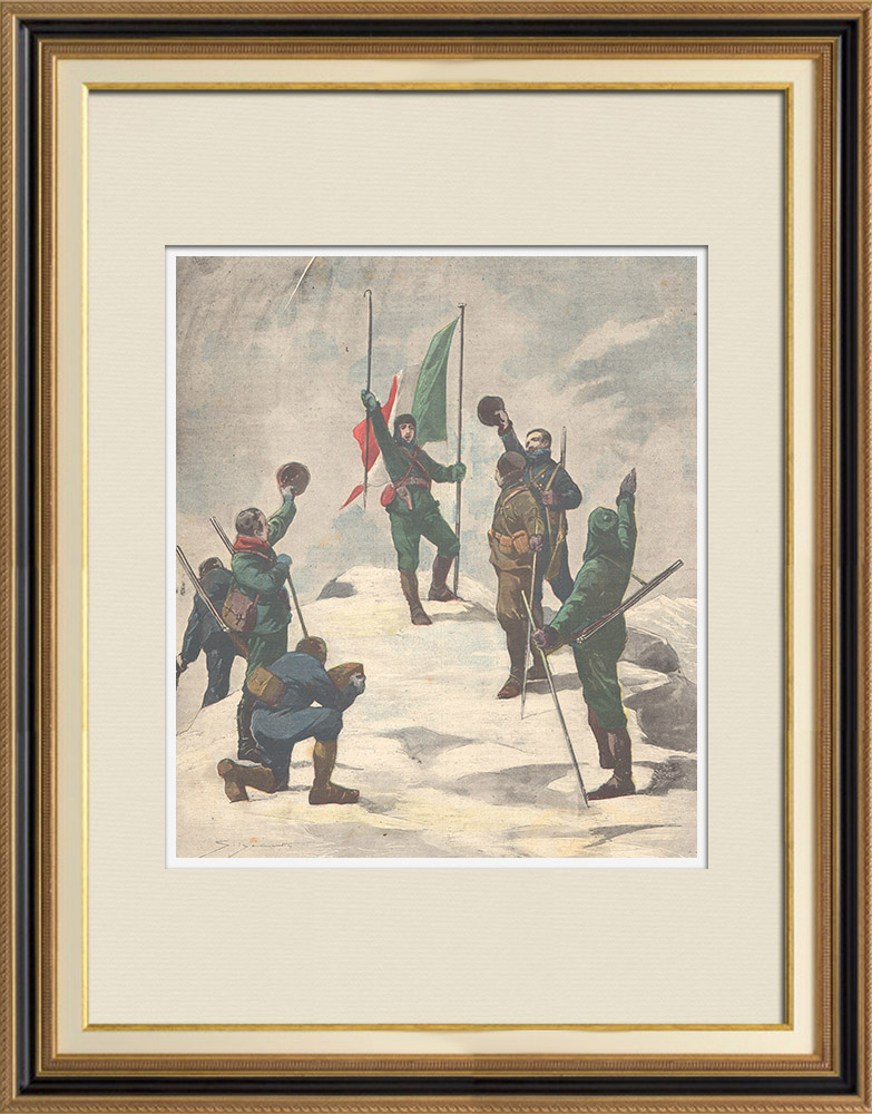 Gravures Anciennes & Dessins | Première ascension du Mont Saint-Élie - Alaska - Amérique du nord - 1897 | Gravure sur bois | 1897