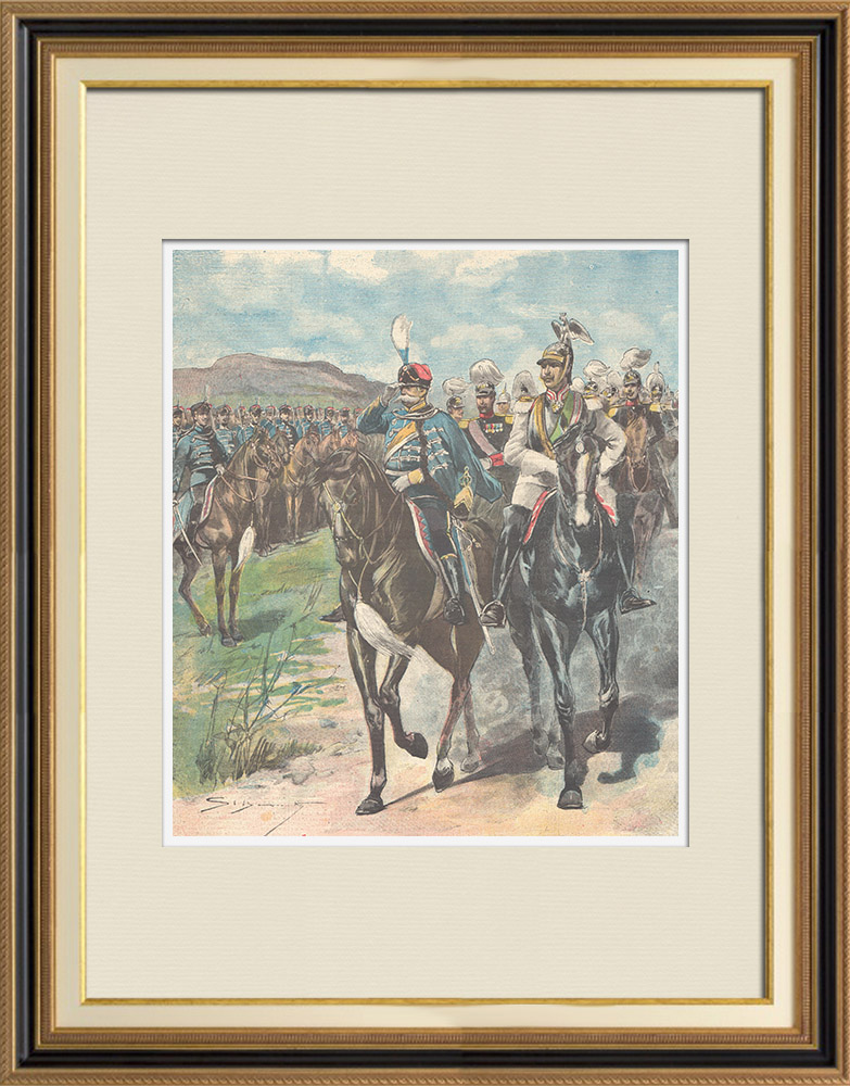 Antique Prints & Drawings   The Sovereigns of Italy in Hamburg - Military parade - Germany - 1897   Wood engraving   1897