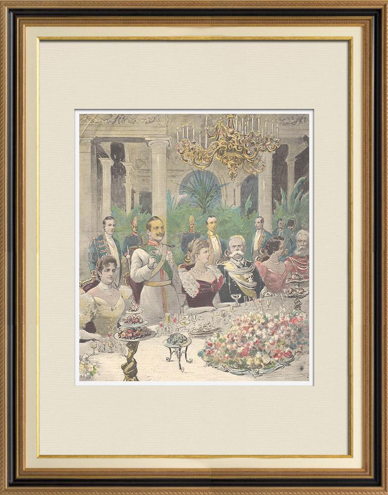 Gravures Anciennes & Dessins | Les Souverains d'Italie à Hambourg - Toast - Allemagne - 1897 | Gravure sur bois | 1897