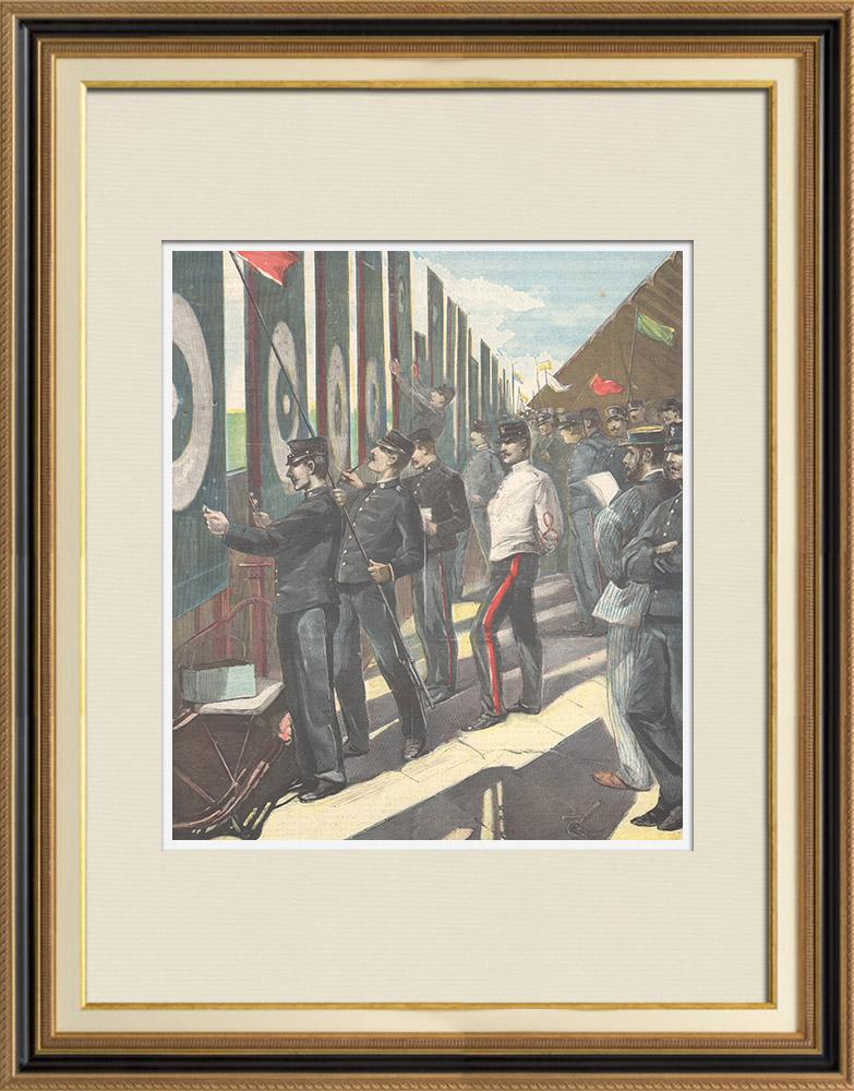 Antique Prints & Drawings | Military exercise - Shooting range - Poligono di Rome - Italy - 1897 | Wood engraving | 1897