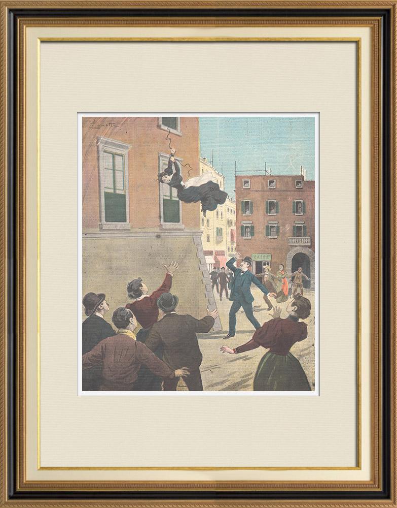 Gravures Anciennes & Dessins | Evasion de la prison du Bon Pasteur à Rome - Italie - 1897 | Gravure sur bois | 1897
