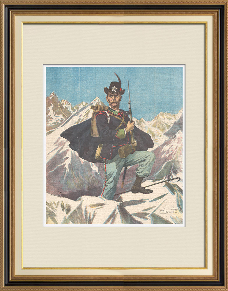 Gravures Anciennes & Dessins | Armée Italienne - Les Alpins - Uniforme Militaire (Italie) | Gravure sur bois | 1897