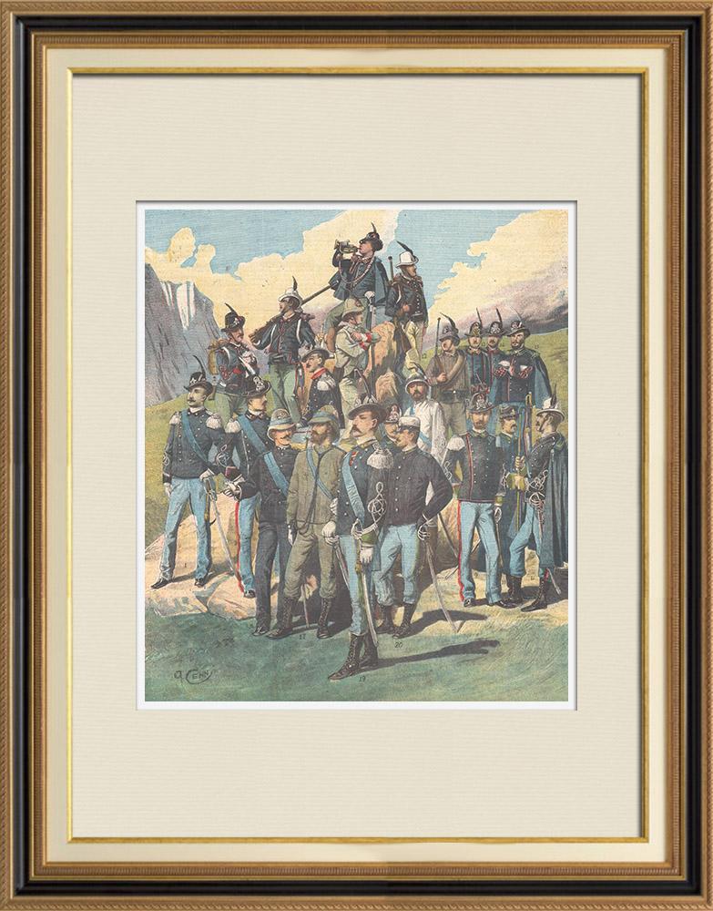 Gravures Anciennes & Dessins   Armée Italienne - Les Alpins - Uniforme Militaire (Italie)   Gravure sur bois   1897