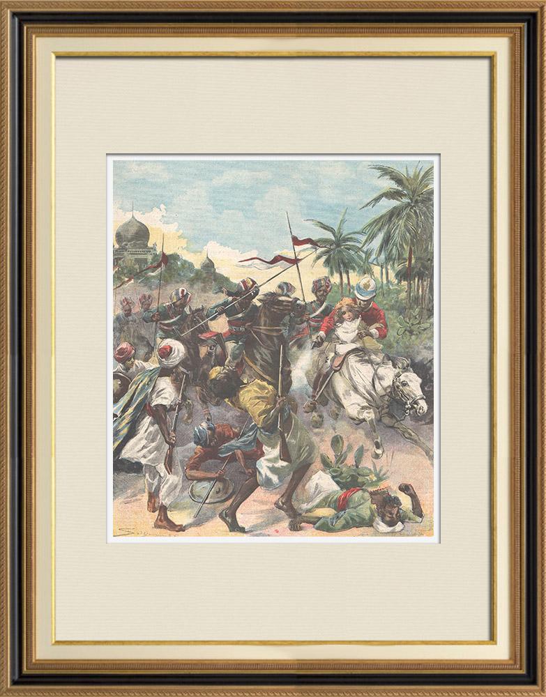 Gravures Anciennes & Dessins   Révolte aux Indes - Fort de Malakand - Tribus afghanes - 1897   Gravure sur bois   1897