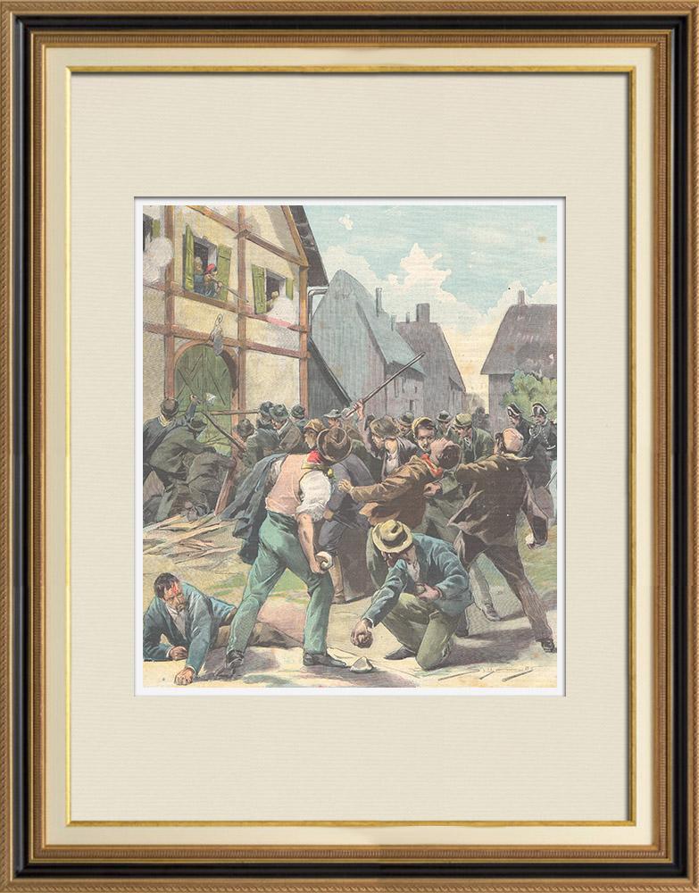 Gravures Anciennes & Dessins | Conflit entre travailleurs italiens et français à Gavet - 1897 | Gravure sur bois | 1897