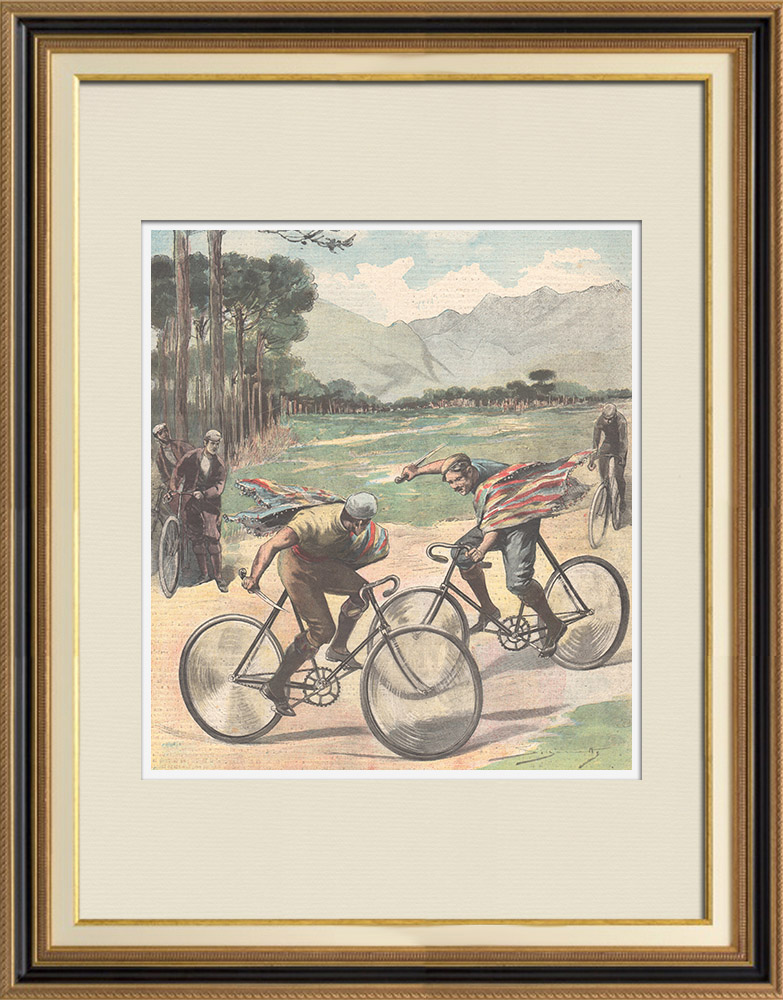 Antique Prints & Drawings | Duel - Bike - Granada - Spain - 1897 | Wood engraving | 1897