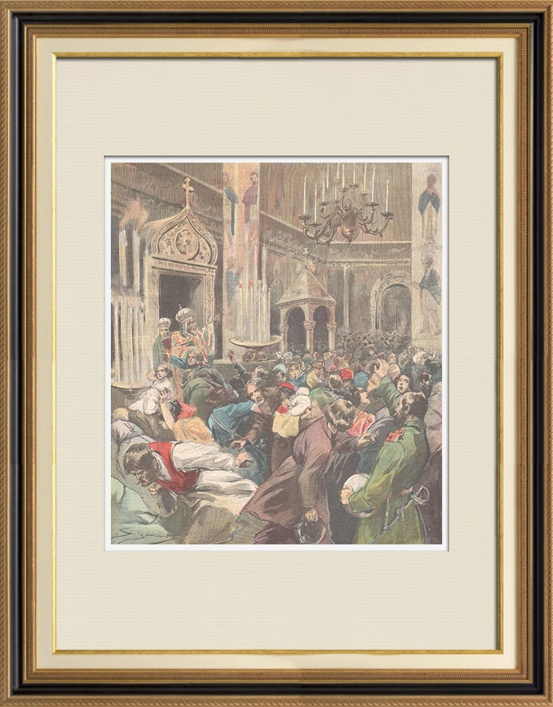 Antique Prints & Drawings   Panic in a Russian church - Russia - 1897   Wood engraving   1897