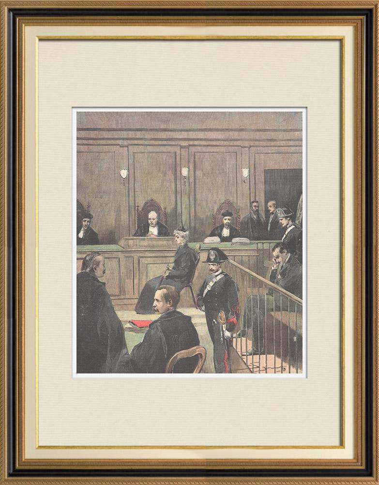 Gravures Anciennes & Dessins | Cour d'Assises de Rome - Procès pour l'assassinat de la comtesse Lara - 1897 | Gravure sur bois | 1897