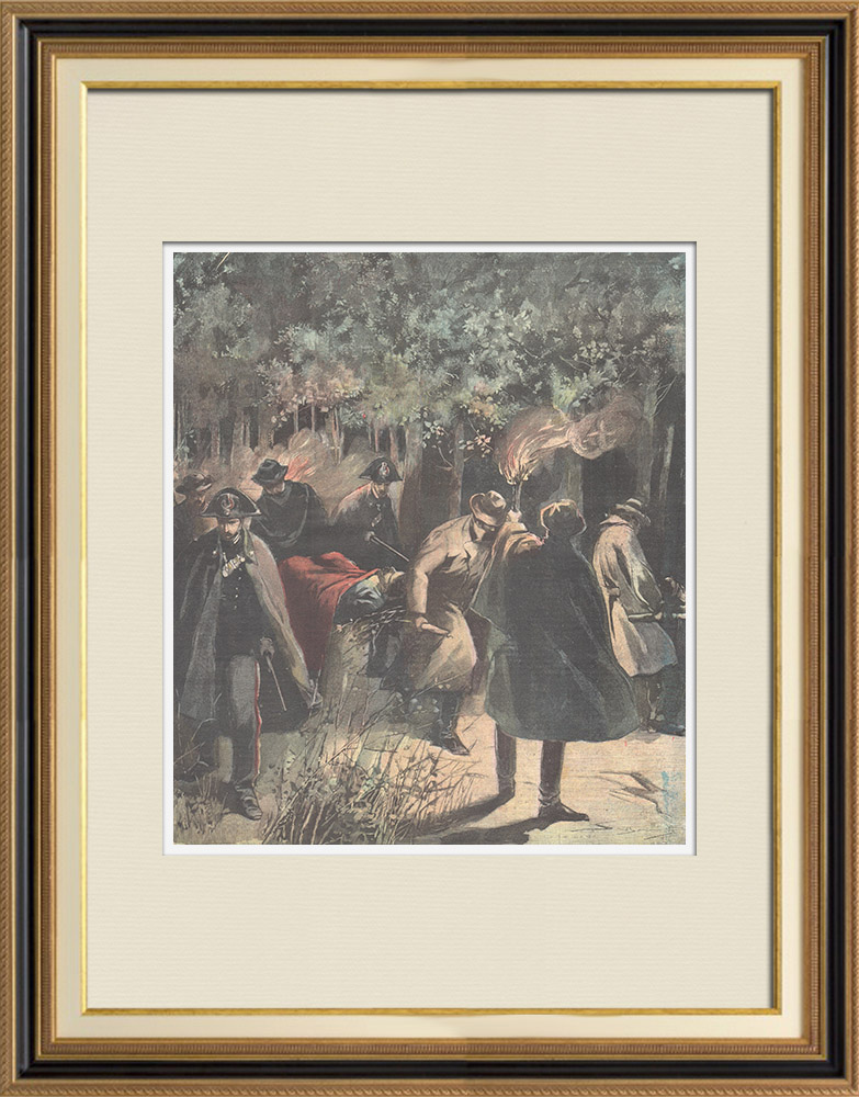 Antique Prints & Drawings | Brigandage - Three highwaymen killed by police in Grosseto - Italy - 1897 | Wood engraving | 1897
