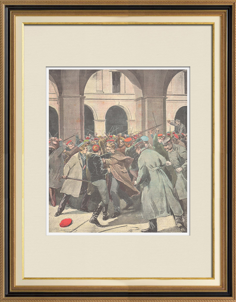 Antique Prints & Drawings | Uprising of students in the University of Vienna - 1897 | Wood engraving | 1897