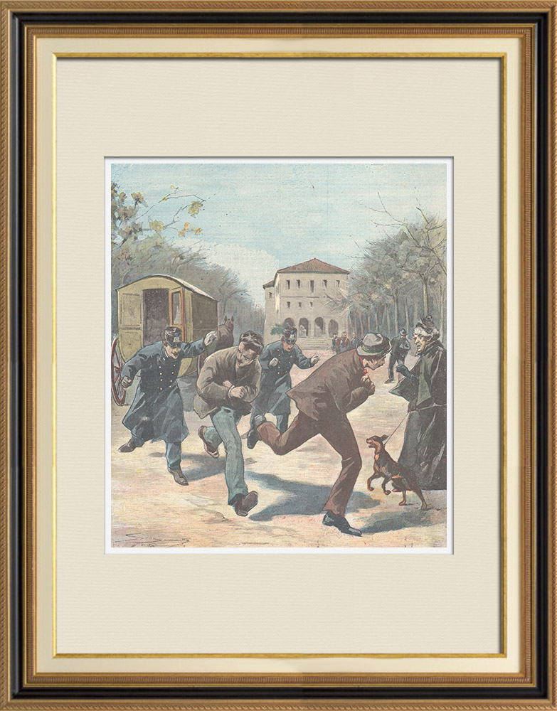 Antique Prints & Drawings   Escape of prisoners from the police van in Rome - Italy - 1897   Wood engraving   1897