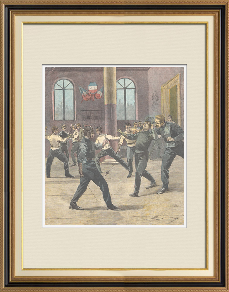 Antique Prints & Drawings | Tragic fencing lesson at Montpellier - France - 1897 | Wood engraving | 1897