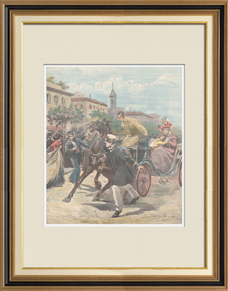 Antique Prints & Drawings   Heroism of an Italian officer - Ponta Delgada, Azores - Portugal - 1897   Wood engraving   1897
