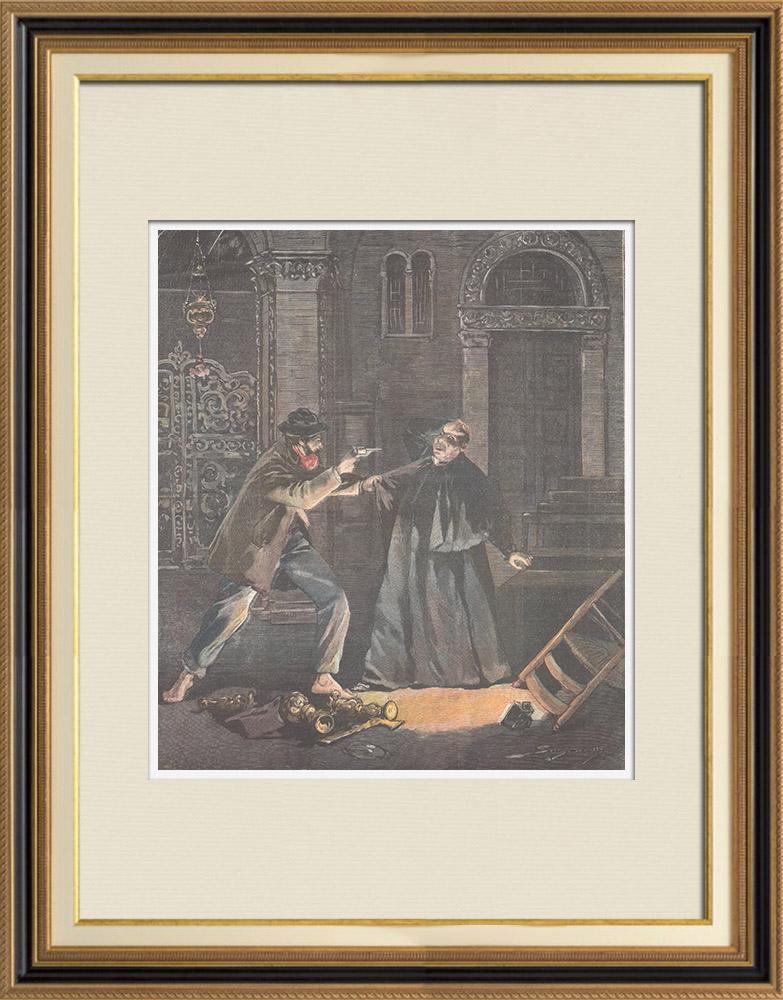 Gravures Anciennes & Dessins | Un voleur dans la basilique de San Frediano à Lucques - Toscane - Italie - 1897 | Gravure sur bois | 1897
