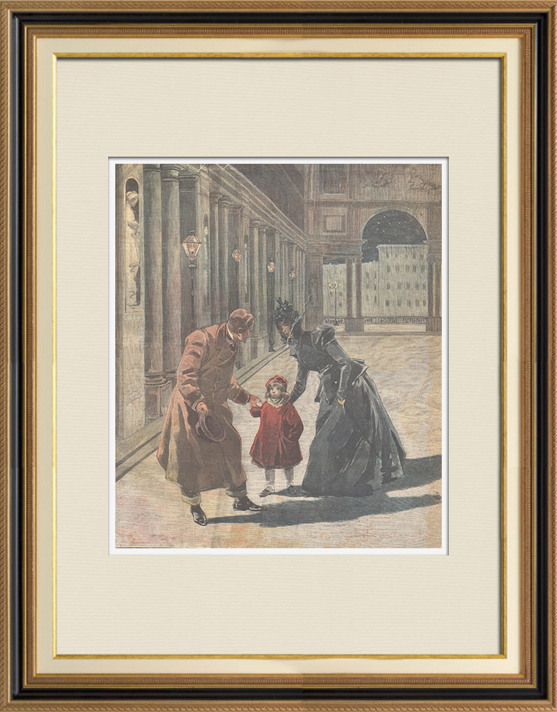 Antique Prints & Drawings | Child abandonment in front of the Uffizi Gallery in Florence - Italy - 1897 | Wood engraving | 1897