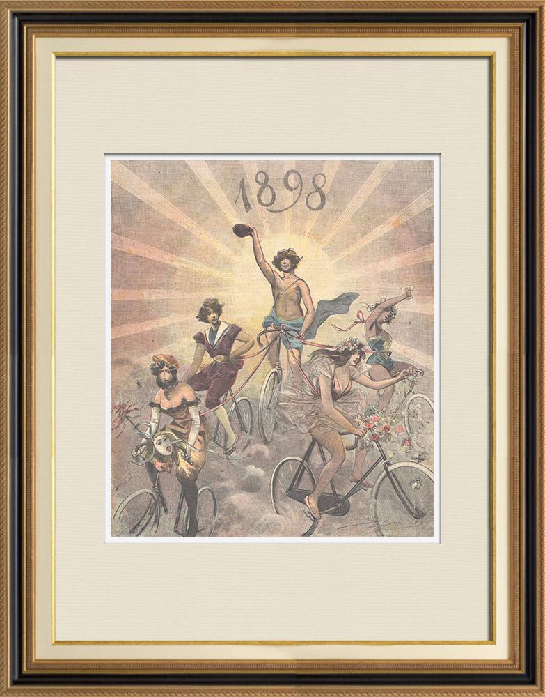 Gravures Anciennes & Dessins   Nouvelle année - 1898 - Triomphe de la bicyclette   Gravure sur bois   1898