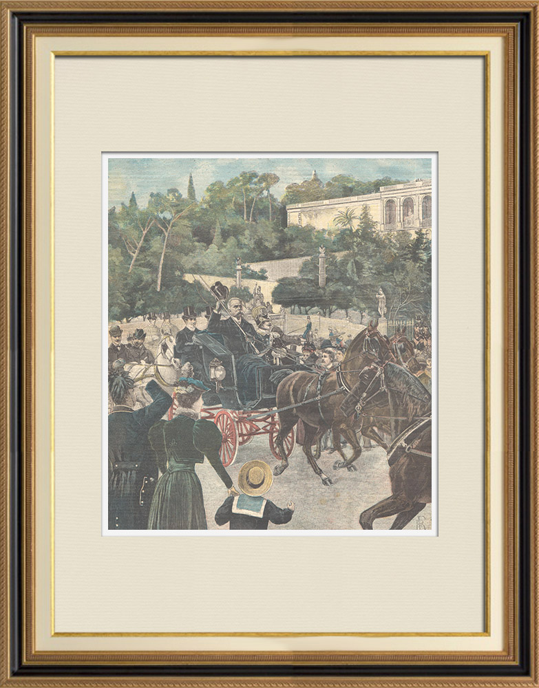 Antique Prints & Drawings | Humbert I king of Italy at the Plazza del Popolo in Rome - Italy - 1898 | Wood engraving | 1898