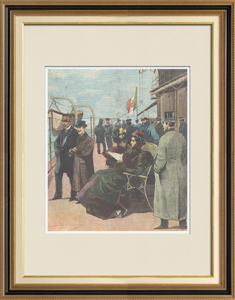 Antique Prints & Drawings | Palermo celebrations - Arrival of prince and princess of Naples - Sicily - 1898 | Wood engraving | 1898
