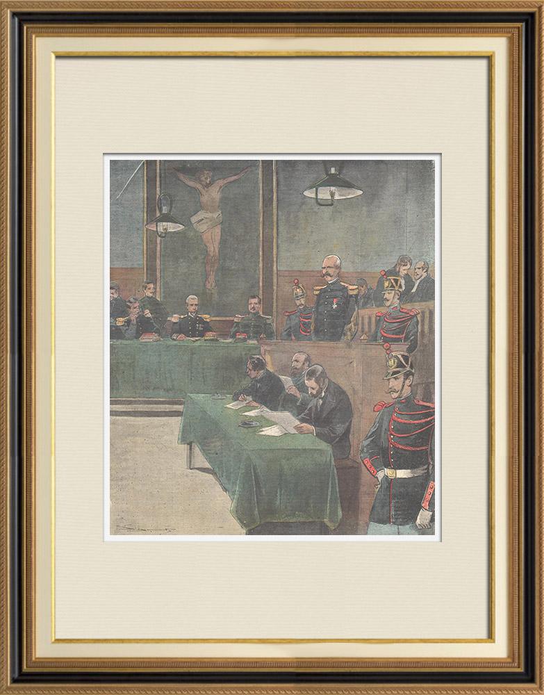 Antique Prints & Drawings   Dreyfus affair - Esterhazy - Council of war - Paris - 1898   Wood engraving   1898