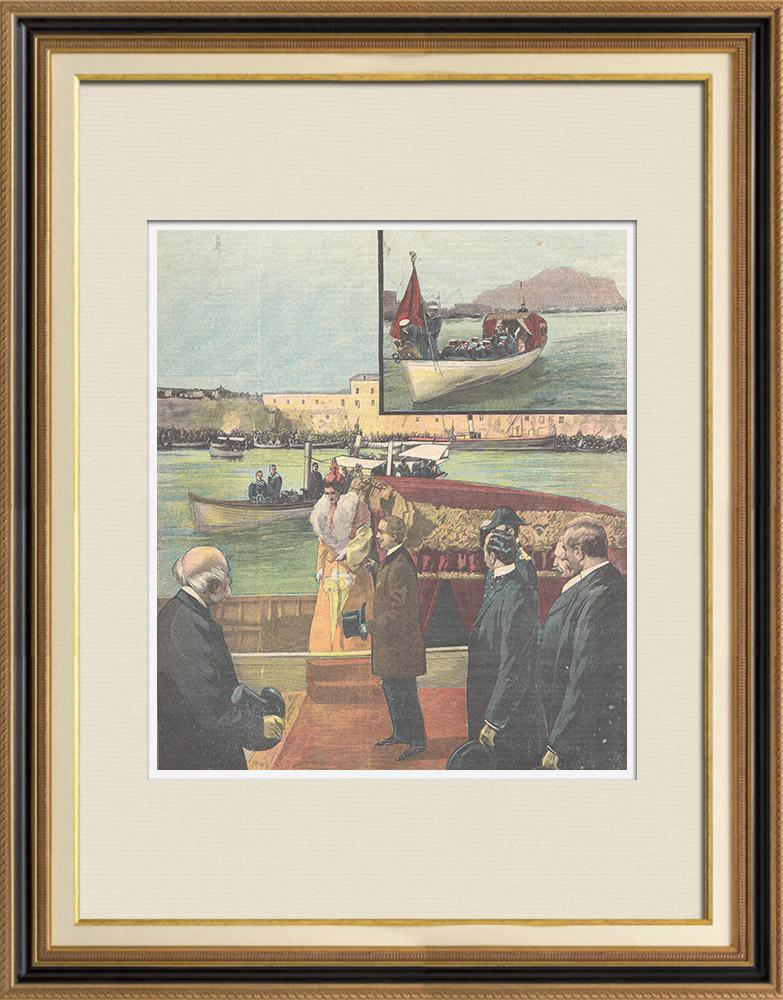 Gravures Anciennes & Dessins | Les fêtes de Palerme - Arrivée du prince et de la princesse de Naples - Sicile - 1898 | Gravure sur bois | 1898