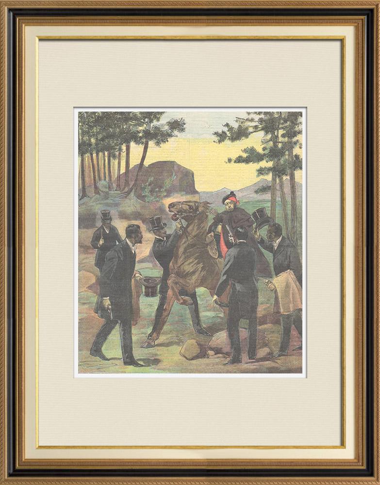 Gravures Anciennes & Dessins | Attaque de brigands en tenue de soirée - Cadix - Andalousie - Italie - 1898 | Gravure sur bois | 1898