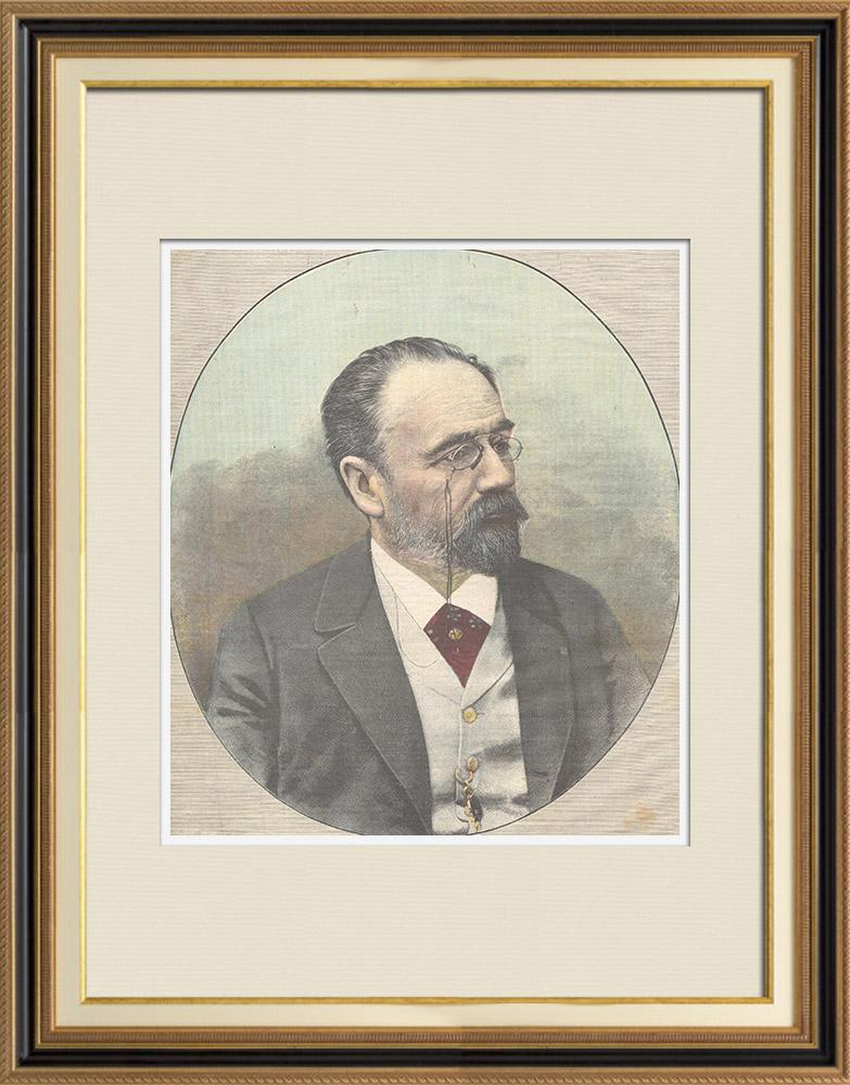 Gravures Anciennes & Dessins | Portrait d'Émile Zola (1840-1902) | Gravure sur bois | 1898