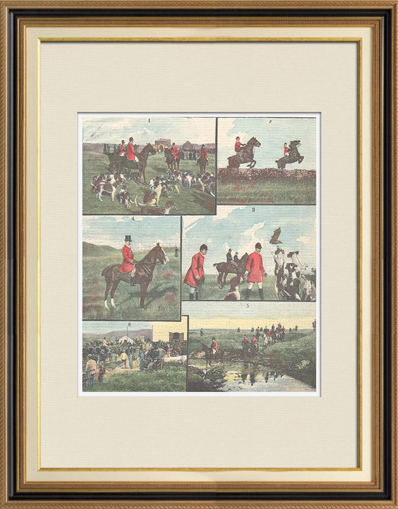 Gravures Anciennes & Dessins | Chasse au renard dans la Campagne Romaine - Latium - Italie - 1898 | Gravure sur bois | 1898