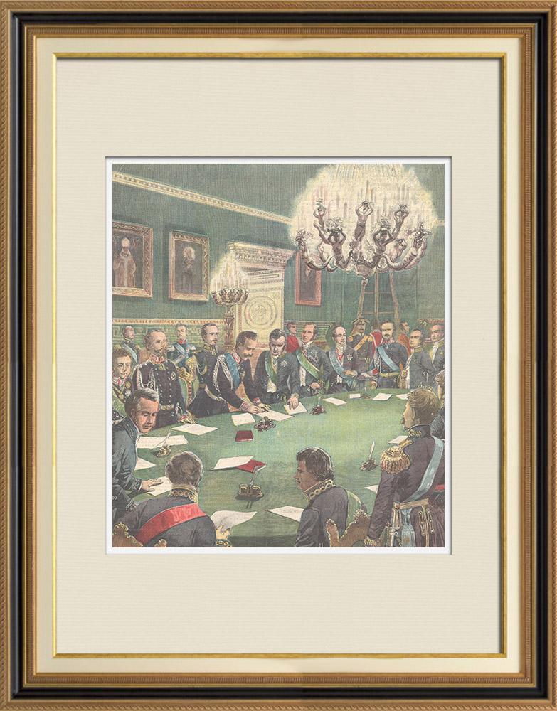 Antique Prints & Drawings | Commemoration - Charles Albert of Sardinia - Albertine Statute - Turin - Italy - 1848 | Wood engraving | 1898