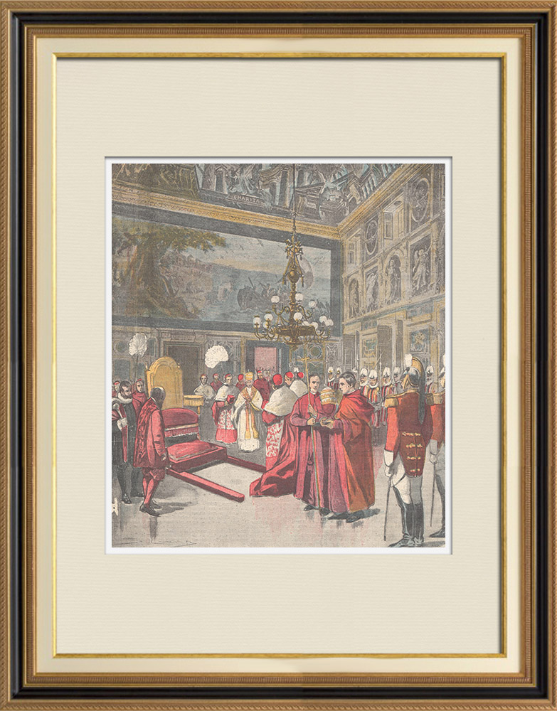 Antique Prints & Drawings | At the Vatican the Pope blesses the pilgrims - Rome - Italy - 1898 | Wood engraving | 1898