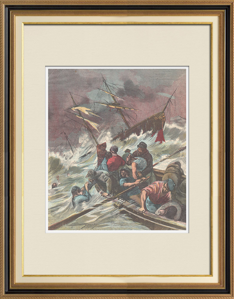 Antique Prints & Drawings   Shipwreck near of Termini Imerese - Sicily - Italy - 1898   Wood engraving   1898