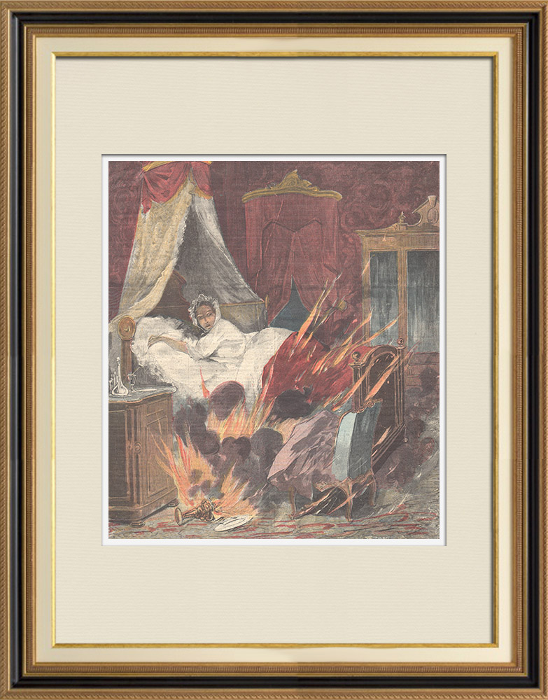 Antique Prints & Drawings | A sick woman dies in a fire in Turin - Italy - 1898 | Wood engraving | 1898