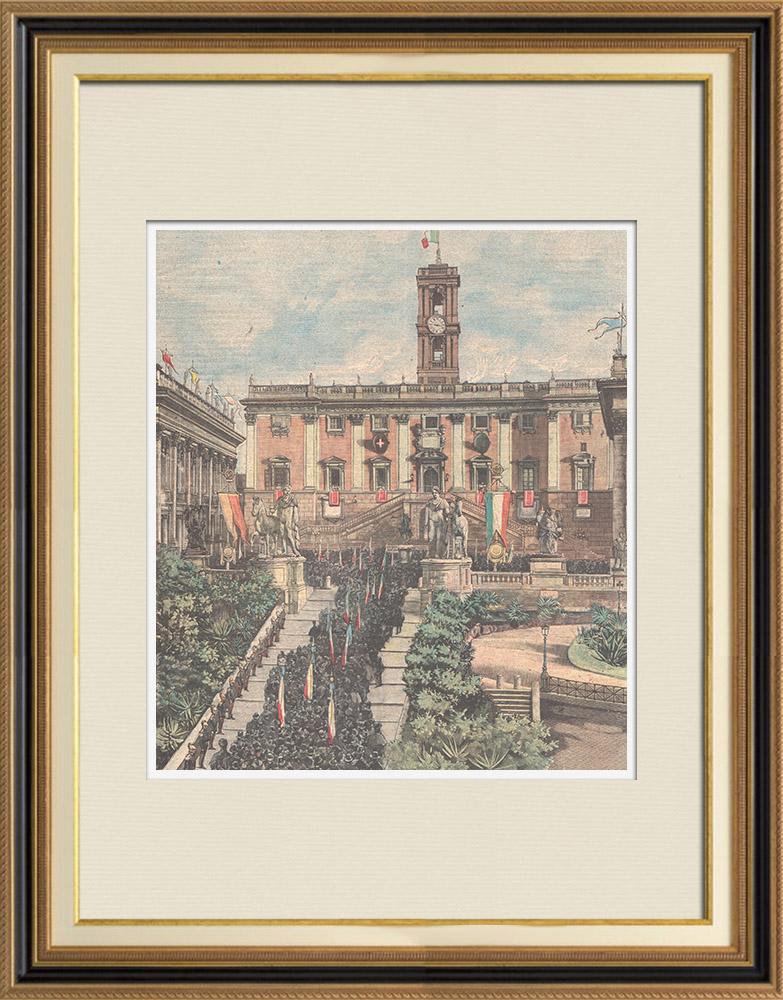 Gravures Anciennes & Dessins | Commémoration - Statut du Royaume d'Italie - Capitole de Rome - Italie - 1898 | Gravure sur bois | 1898