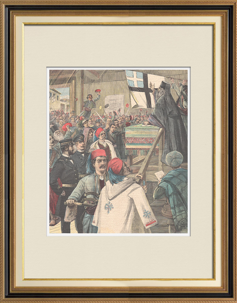 Antique Prints & Drawings   Events in Candia - Insurgents dedicate the flag of Candia - Crete - 1898   Wood engraving   1898