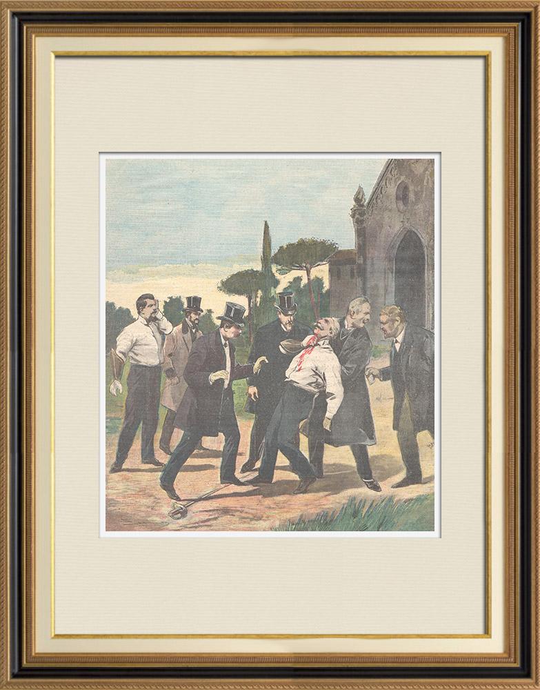 Antique Prints & Drawings | Duel between two deputies in Rome - Italy - 1898 | Wood engraving | 1898