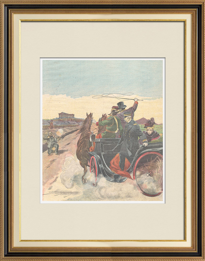 Antique Prints & Drawings | Attack against king George of Greece - 1898 | Wood engraving | 1898