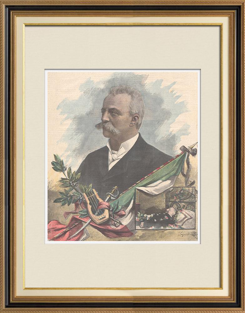 Gravures Anciennes & Dessins | Portrait de Felice Cavallotti (1842-1898) | Gravure sur bois | 1898