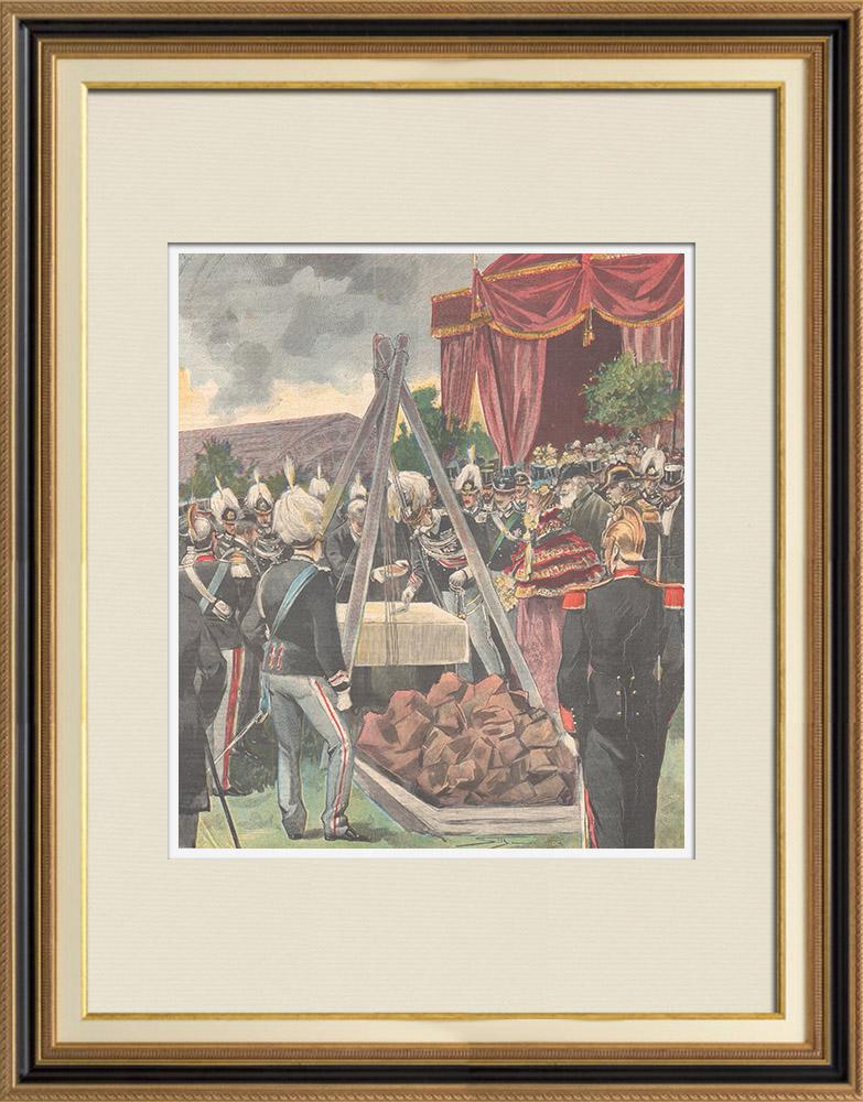 Gravures Anciennes & Dessins | Pose de la première pierre - Monument à Charles-Albert de Sardaigne à Rome - Italie - 1898 | Gravure sur bois | 1898
