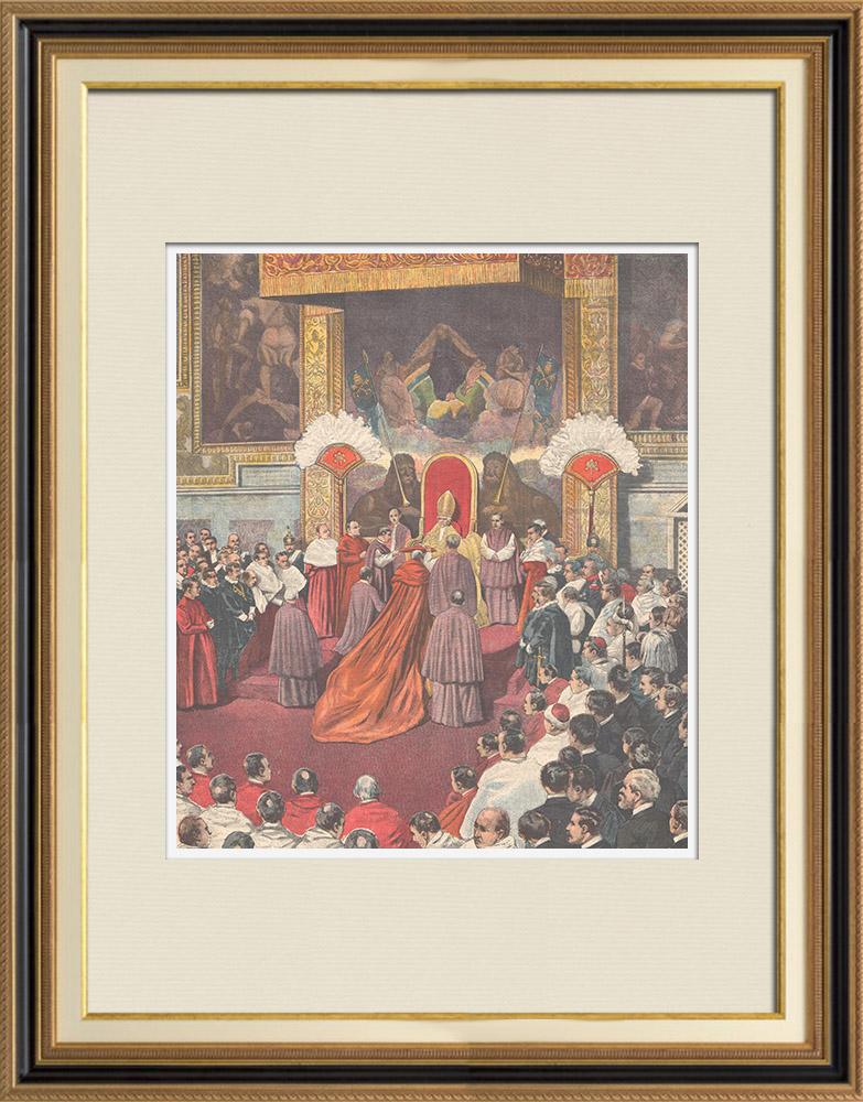 Gravures Anciennes & Dessins | Consistoire au Vatican - Italie - 1898 | Gravure sur bois | 1898