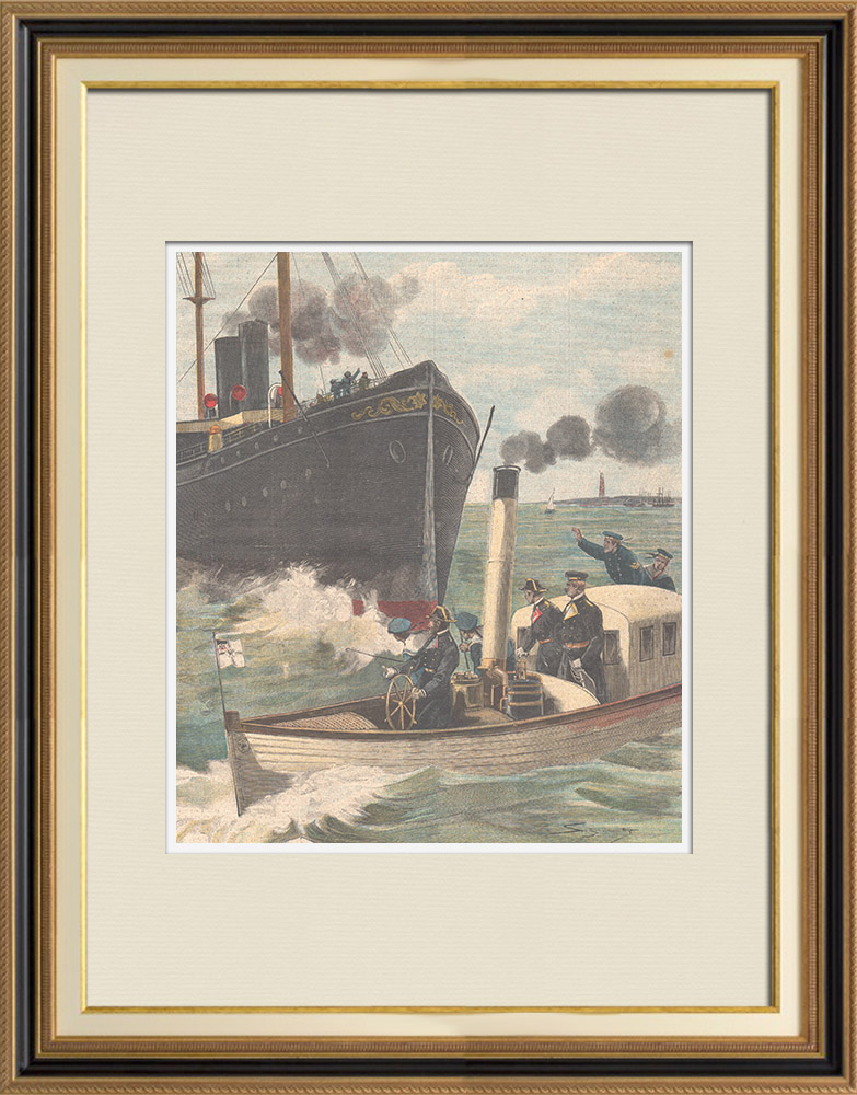 Antique Prints & Drawings | Wilhelm II - German Emperor saved from a serious danger at sea - Germany - 1898 | Wood engraving | 1898